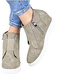 Plateau Sneaker Damen Wedges Hohe Keilabsatz High Leder Kurzschaft 4.5cm  Chelsea Ankle Boots Reißverschluss Keil Schuhe… 75b9f71910