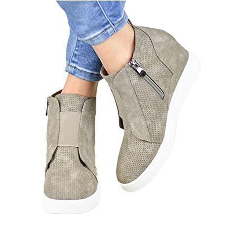 Plateau Sneaker Damen Wedges Hohe Keilabsatz High Leder Kurzschaft 4.5cm Chelsea Ankle Boots Reißverschluss Keil Schuhe Beige Rosa Blau Grau 34-43 KH40
