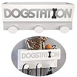 LS-LebenStil Hunde-Garderobe Dogstation Holz Weiß 30x15cm Hunde-Leinenhalter