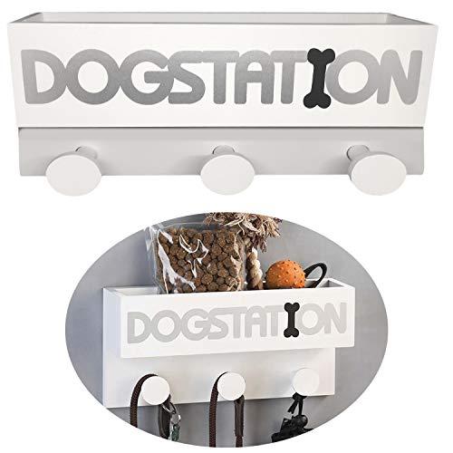 LS-Design Hunde-Garderobe Dogstation Holz Weiß 30x15cm Hunde-Leinenhalter