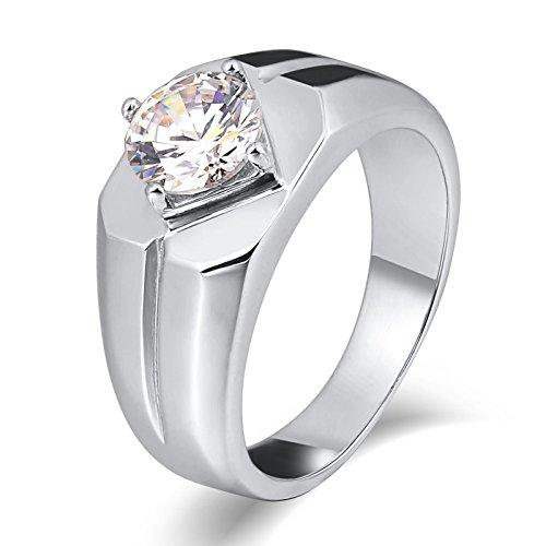 Aienid Schmuck Ring Edelstahl Zirkonia Runden Silber Ringeherrenring Lapislazuli Größe:0.8X0.8CM Size:60 (19.1)