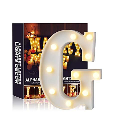 Ciojio A-Z Alphabet Licht Weiß LED Nachtlicht Briefe Kunststoff Lampen Stehen Hängend Beleuchtung zum Hochzeit Halloween Weihnachten Party Zuhause Dekoration (G)