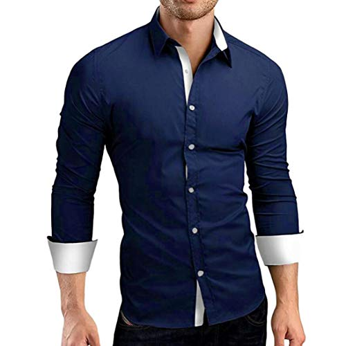 Jiameng camicie casual da uomo - top da uomo coltivare a maniche lunghe camicetta cuciture casual formale solid slim fit abito maniche lunghe camicetta superiore