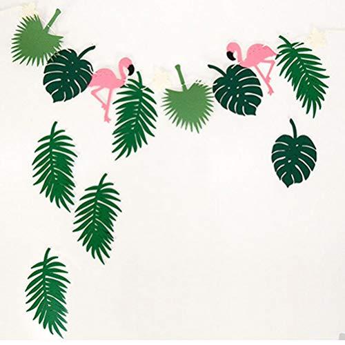 Zonster Flamingo & Blätter Hawaiian Jungle Party Dekoration Garland Geburtstag Parti Foto Prop Künstliche Pflanzen Wald Party Supplies