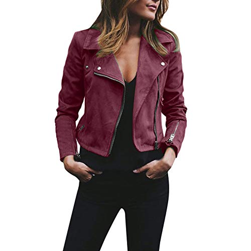 MIRRAY Damen Winter Mode Retro Rivet Reißverschluss Oben Bomberjacke Casual Mantel Outwear