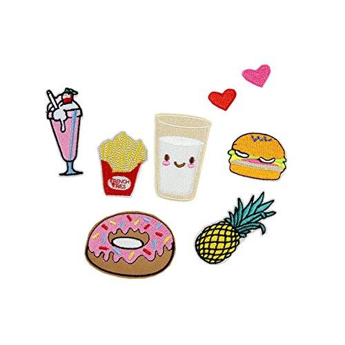 hwafan Cute Cartoon mix Lebensmittel Gemüse Pflanze Nähen auf Eisen auf Badge bestickt Motiv DIY Dekoration Aufnäher für Jeans Kleidung 8PCS-Hamburgers Heart