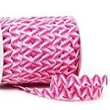 Zackenlitze, zweifarbig 12 mm / 12 mm, col.204, rosa/weiß, 2m, 100% Polyester