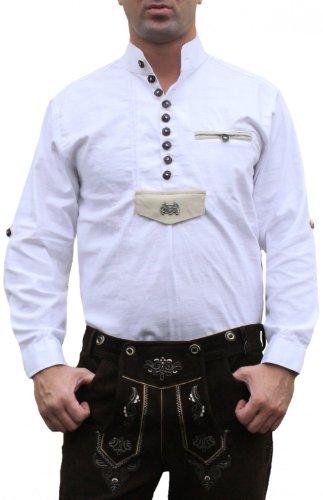 Trachtenhemd für Trachten Lederhosen Oktoberfest Trachtenmode wiesn weiß, Hemdgröße:4XL