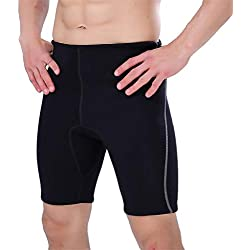 KPILP Homme Élasticité Pantalons de Surf Maillot de Bain Pantalon de Plongée - SLINX Homme Néoprène 2mm La Mode Les Loisirs Couleur Unie Serré Natation Shorts M-XXXL(Noir,XL)