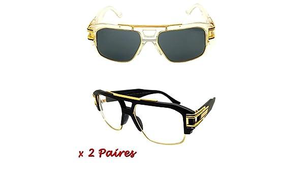 Lunettes De vue Soleil homme Sunglasses kazal Style évidence transparente or