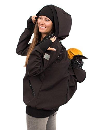 Viva la Mama Tragejacke Rückentrage Baby hinten und vorn tragen Regenjacke Windjacke Softshell Mantel Umstandsjacke - AVENTURIS schwarz Punkte - S