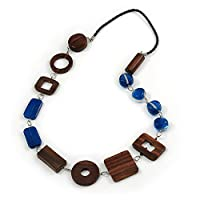 Avalaya Blue Glass, Brown Wood Bead with Black Faux Leather Cord Necklace - 80cm L