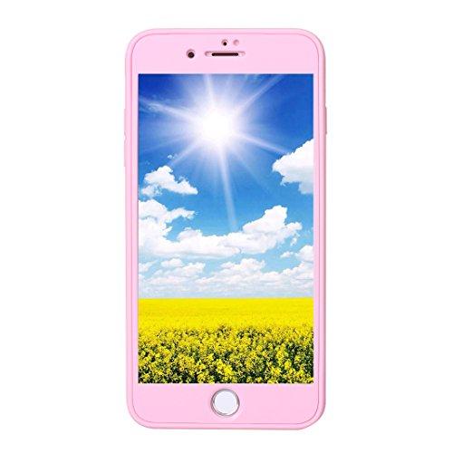 Coque iPhone 7 Plus Hybride Case, Coque iPhone 8 Plus, Moon mood® 360 Degres Protector Housse en Plastique PC Rigide + Souple TPU Bumper Arrière Étui pour Apple iPhone 8 Plus Coque de Protection Antic Rose
