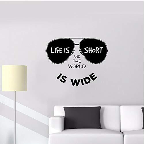 DongOJO Sonnenbrille Wandtattoo Lifestyle Inschrift 正 Welt Wandtattoo Abnehmbare Wohnkultur Wandbild Wanddekoration 42x54cm