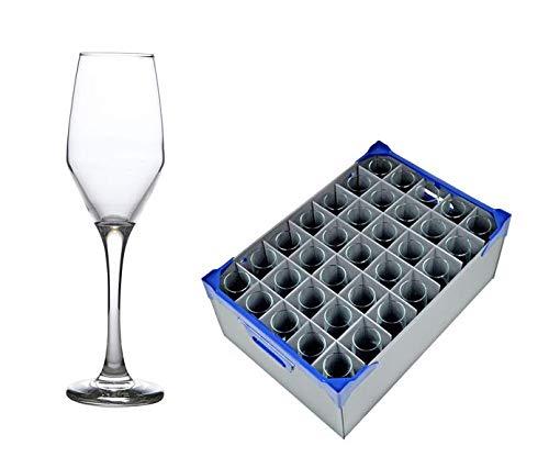 Glassjacks Ella Flûte à Champagne 23 cl/229,6 Gram - Lot de 35 et 1 Verrerie Boîte de Rangement