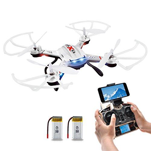 Drone con Telecámara, Potensic F181WH AMPLIADO Wifi FPV 2.4GHz 4CH 6-Axis Gyro RC Quadcopter Hover Drone ESTABILIZACIÓN con Cámara HD 2 Megapíxeles, Función 3D Flips Modo Sin-Cabeza, 360° de Eversión (Incluido las Hélices)