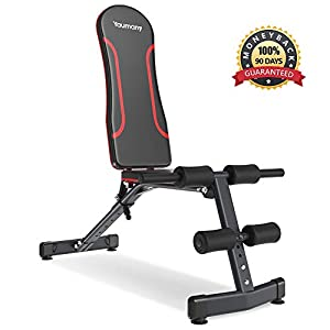 Yaumany Adjustable Weight Bench 6 Position Incline Decline Ergonomic EVA Padding Foldable for Dumbbell Exercise Weight Lifting Sit Up Multiuse Full Body Workout with Resistance Bands by Yaumany