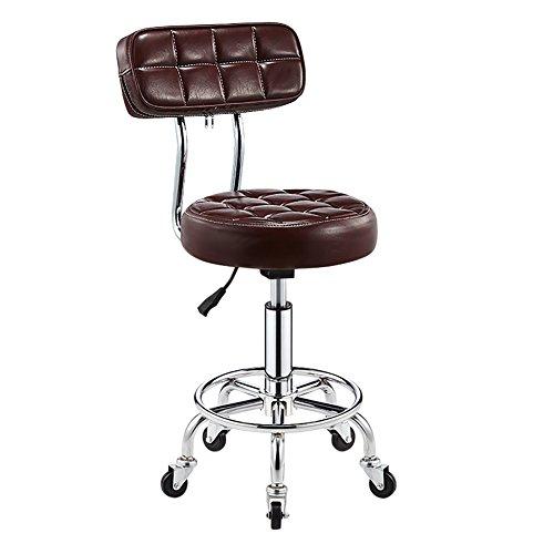 C-K-P Bar Chaise Dossier réglable Hauteur d'épaisseur 5 roulettes Tabouret Chaise Moderne Salon de Style Minimaliste Maison (Couleur : Brown)