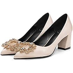 Seide dick mit High Heels elegante Hochzeit Schuhe gold flachen Mund Temperament Schuhe ( Farbe : Gold 6cm , größe : 38 )