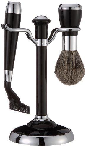 Fantasia - 81012 - Set de rasage - Blaireau véritable - Lames Mach 3 - Noir/Argenté - Hauteur: 17 cm