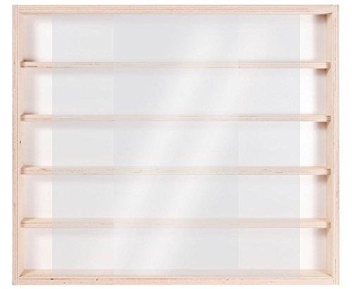 V32 Vitrine Murale | 60 x 52 x 6 cm | en Bois de Bouleau Non Traité | 5 Étagères | 2 Vitres Plexiglas Coulissantes | Collection | Voitures | Trains | Miniatures | Schtroumpfs | Petites Bouteilles