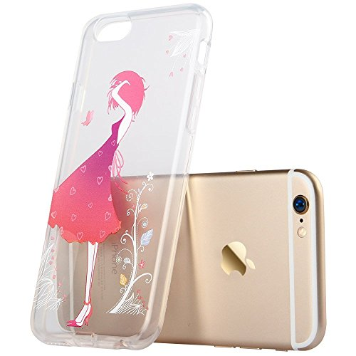 iPhone 8 Case, iPhone 7 Case, Walmark Soft Gel TPU Silicone Case Clear with Design Cute Cartoon Slim Fit Ultra Thin Protective Cover for 4.7 inches iPhone 7 /iPhone 8 _Blossom Girl
