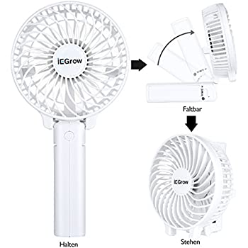 iegrow usb ventilator leise mini handventilator ventilatoren l fter mit batterie wei. Black Bedroom Furniture Sets. Home Design Ideas