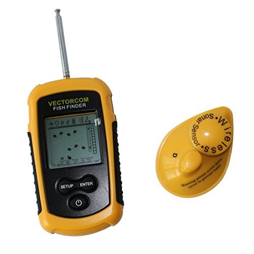 Portable Wireless Fish Finder with LCD display Depth Range Max 120Feet(35meters) yellow with black