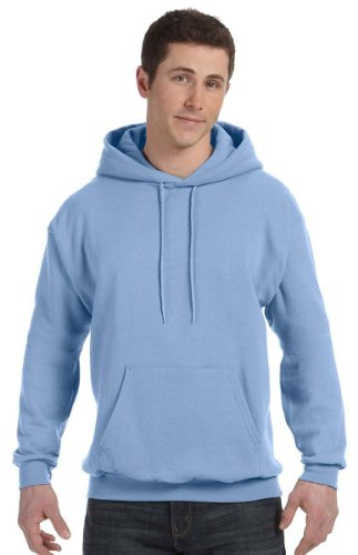 Hanes Mens Fleece Full Cut Athletic Hooded Pullover Light Blue