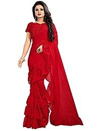ec5454512c9 vaankosh fashion Georgette Saree With Blouse Piece (Ruff-1 Red Free Size)