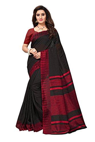 Applecreation bhagalpuri silk Saree With Blouse Piece (BLACK_APHB2015_Free Size)