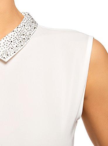 oodji Ultra Donna Top Fluido con Decorazioni sul Colletto Bianco (1200N)