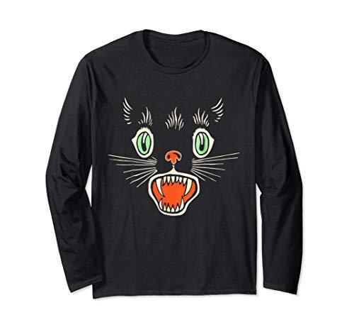 Vintage Scary Black Cat Face Horror Halloween Geschenk Langarmshirt (Scary Black Cat Kostüm)