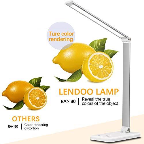 41YR9u8QnjL - Lámpara Escritorio LED,5*10 Modos de Brillo con 52 SMD Leds Lámparas Mesa USB Recargable,2000mAh Plegable Flexo de Escritorio Control Táctil,Protege a ojos