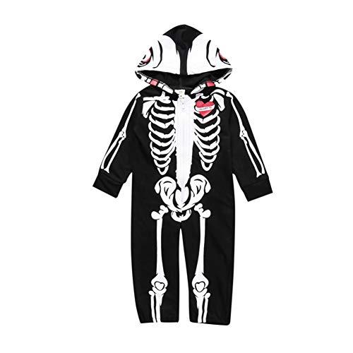 Halloween Schädel Jumpsuit Schwarz Langarm One Piece Kids Outfit Lustige Kostüme Overalls