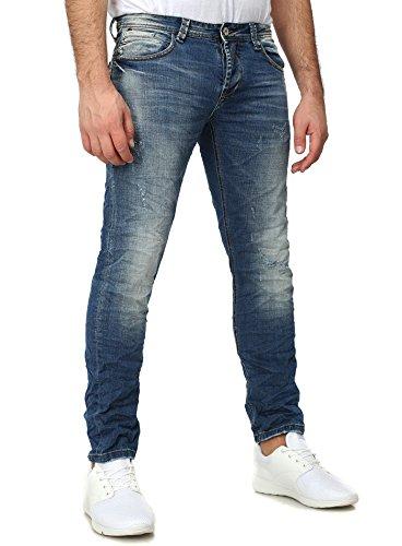 Y-Two Herren Jeans SYDNEY Slim Fit Five Pocket Destroyed Look Blau