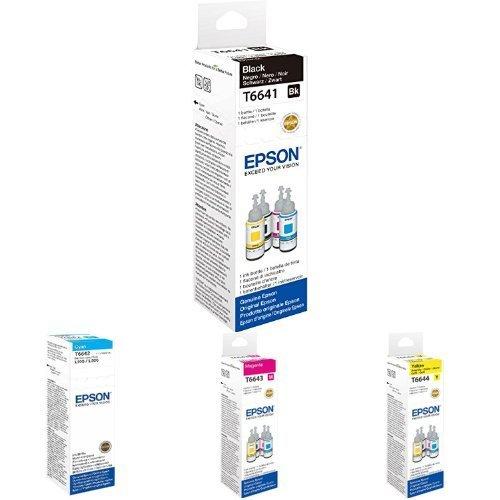 Epson Ecotank Encre Bouteille - Ensemble de 4 bouteilles en 4 couleurs différentes - T6641 T6642 T6643 T6644 - Noir, Cyan, Magenta, Jaune