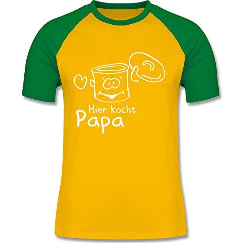 Küche - Hier kocht Papa - zweifarbiges Baseballshirt für Männer Gelb/Grün