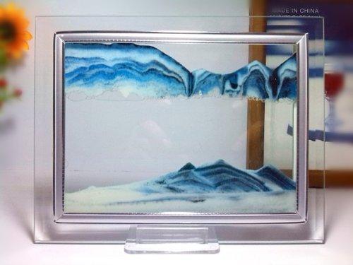 Blu Sand Moving Glass Picture Home Office Scrivania decorazione di compleanno regalo di natale w / Holder