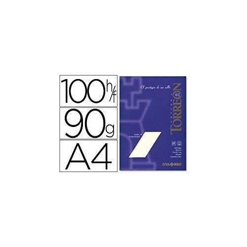 Torreón Folios verjurados Din A4, 100h 90 gramos, Papel Torreon Ahuesado