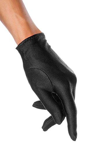 Schwarze Satinhandschuhe kurz elegante Handstulpen aus Satin