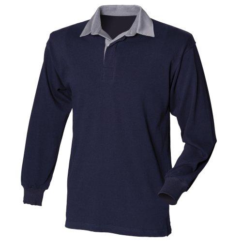 Front Row Herren Sport Rugby Shirt, Langarm Rot