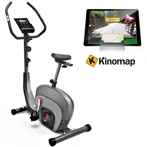 Sportstech ES400 Bicicleta estática para casa, Control de App para Smartphone, Volante de inercia de 10 kg, Bluetooth, Pulsometro, Sistema de Freno magnético, Soporte para Tablet