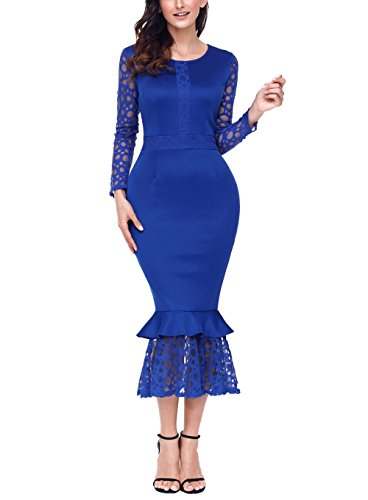 Asvivid Women's Hollow-out Long Sleeve Lace Ruffle O-Neck Bodycon Party Cocktail Prom Midi Dress Medium Blue