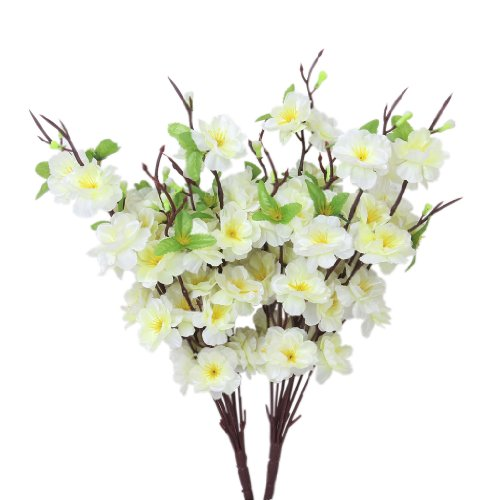 """2 Stück 16.14"""" Künstliche Frühling Pfirsich Blüten Spray Zweig, Blume, Baum (Weiß)"""