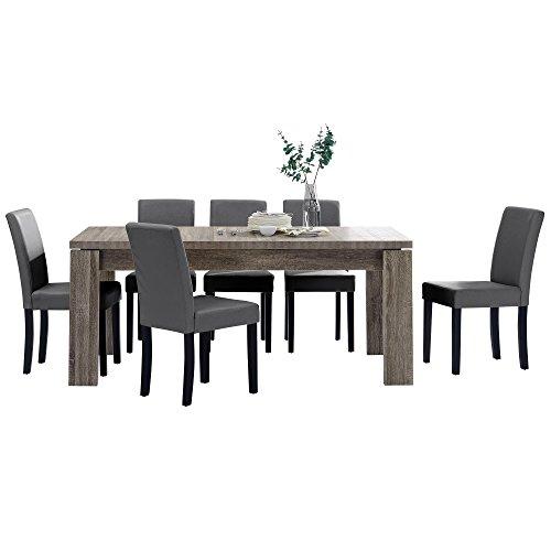 [en.casa] Esstisch und Stuhlset \'Helsinki\' (antik - 170x79cm) 6 Stühle (Gepolstert - dunkelgrau) - im Sparpaket