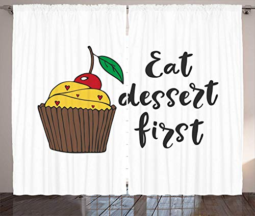 Eat Dessert First Curtains, Cartoonish Design Cherry Top Cupcake with Tiny Hearts and Calligraphy, Living Room Bedroom Window Drapes 2 Panel Set,Multicolor 110x90 in - Cupcake Liner Daisy