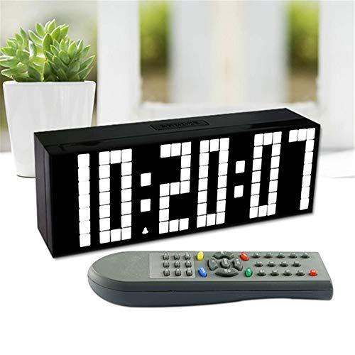 CHUDAN LED Große Digitale Wecker mit Countdown-Funktion und 6 Zoll LCD, 12/24HR, Automatische Helligkeitsanpassung, Fernbedienung für Schlafzimmer, Büro & Reise,White -