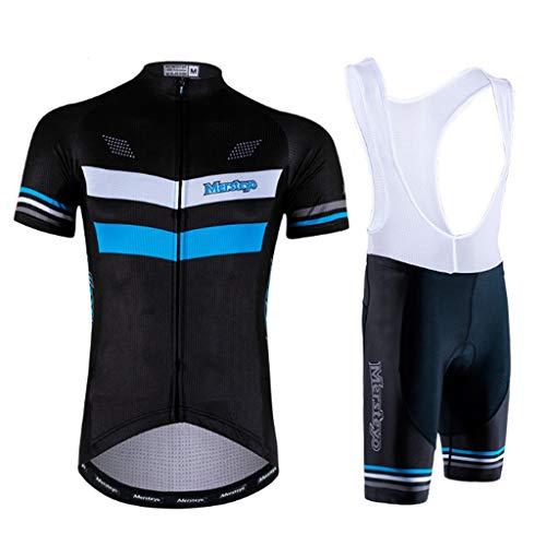 QJKai Herren Radtrikot Anzug Atmungsaktiv Schnell trocknend Kurzarm + 3D Gel Pad Reiten Shorts Strumpfhosen Hosen for Männer Fahrrad Kleidung Anzüge Anti-Slip (Size : L)