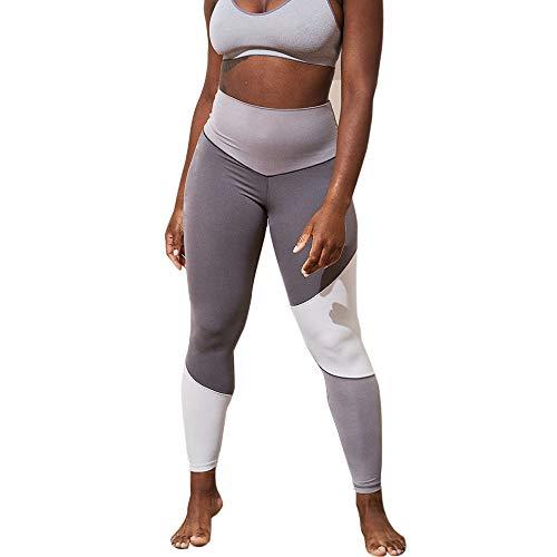 LEEDY Ausverkauf! Damen Sport Leggings, Farbblock Gym Dünne Hosen Tights Sportleggings Sporthose Yogahose Hoher Bund Blickdicht Capri Yoga Pants Lang Fitnesshose